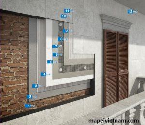 Thi công hệ thống cách nhiệt và gạch trên tường cũ