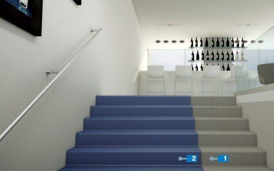Thi công thảm cầu thang bằng băng dán 2 mặt